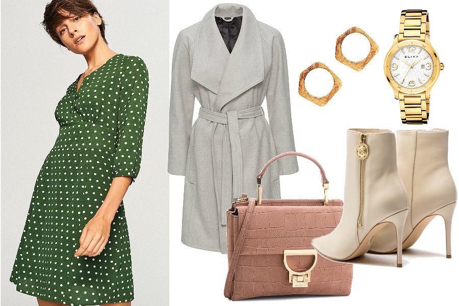 Do zielonej sukienki w grochy dobierz dodatki w jasnych barwach