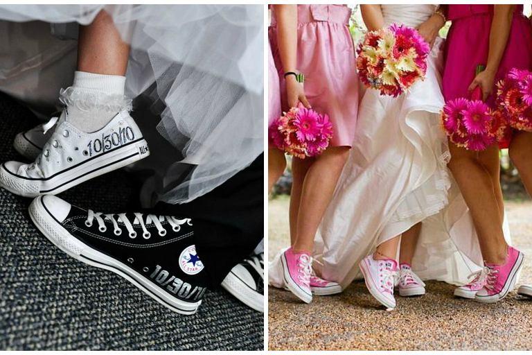 buty sportowe do sukni ślubnej converse