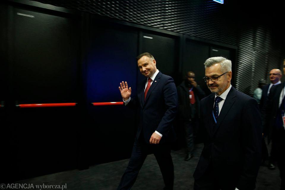3.12.2018, Katowice, prezydent Andrzej Duda podczas szczytu klimatycznego COP 24.