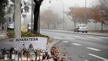 Miejsce wypadku, ul. Sokratesa, październik 2019 r.