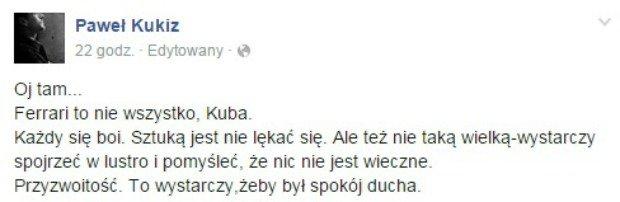 Wpis z Facebooka Pawła Kukiza