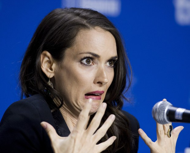 "Actress Winona Ryder speaks during the press conference for the film ""The Iceman"" during the 2012 Toronto International Film Festival in Toronto on Monday, Sept. 10, 2012. (AP Photo/The Canadian Press, Aaron Vincent Elkaim)"