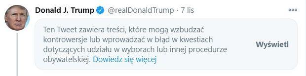 Ostrzeżenie na profilu Trumpa na Twitterze