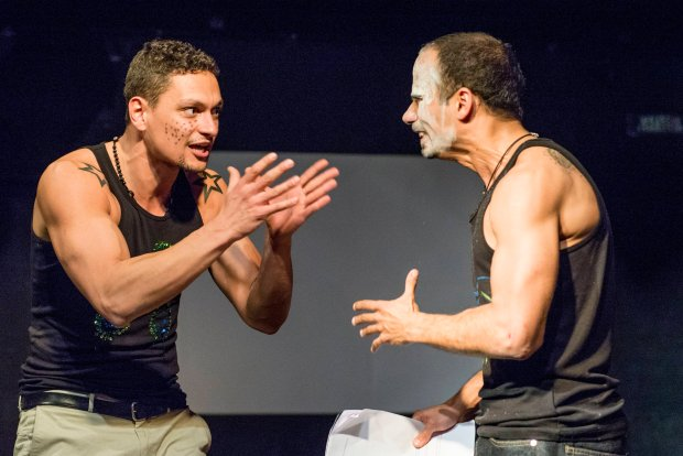 Amin Bensalem i MIkołaj Woubishet w spektaklu