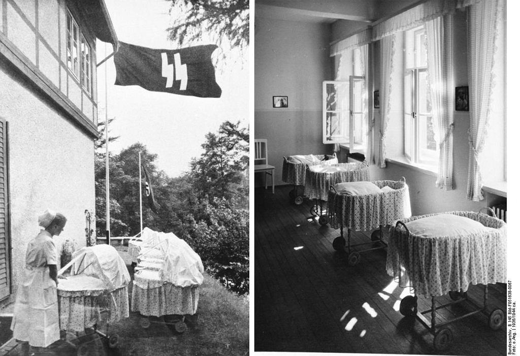 Dziećmi urodzonymi w ośrodkach Lebensbornu zajmowały się wykwalifikowane pielęgniarki (fot. Bundesarchiv, Bild 146-1973-010-11 / CC-BY-SA 3.0 / Bundesarchiv, B 145 Bild-F051638-0067 / CC-BY-SA 3.0)