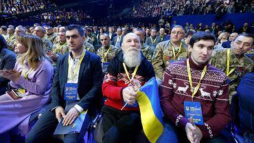 Julia Tymoszenko obwieszcza swój start w wyborach prezydenckich, na widowni w Pałacu Sportu w Kijowie siedzą jej zwolennicy,  22 stycznia 2019 r.