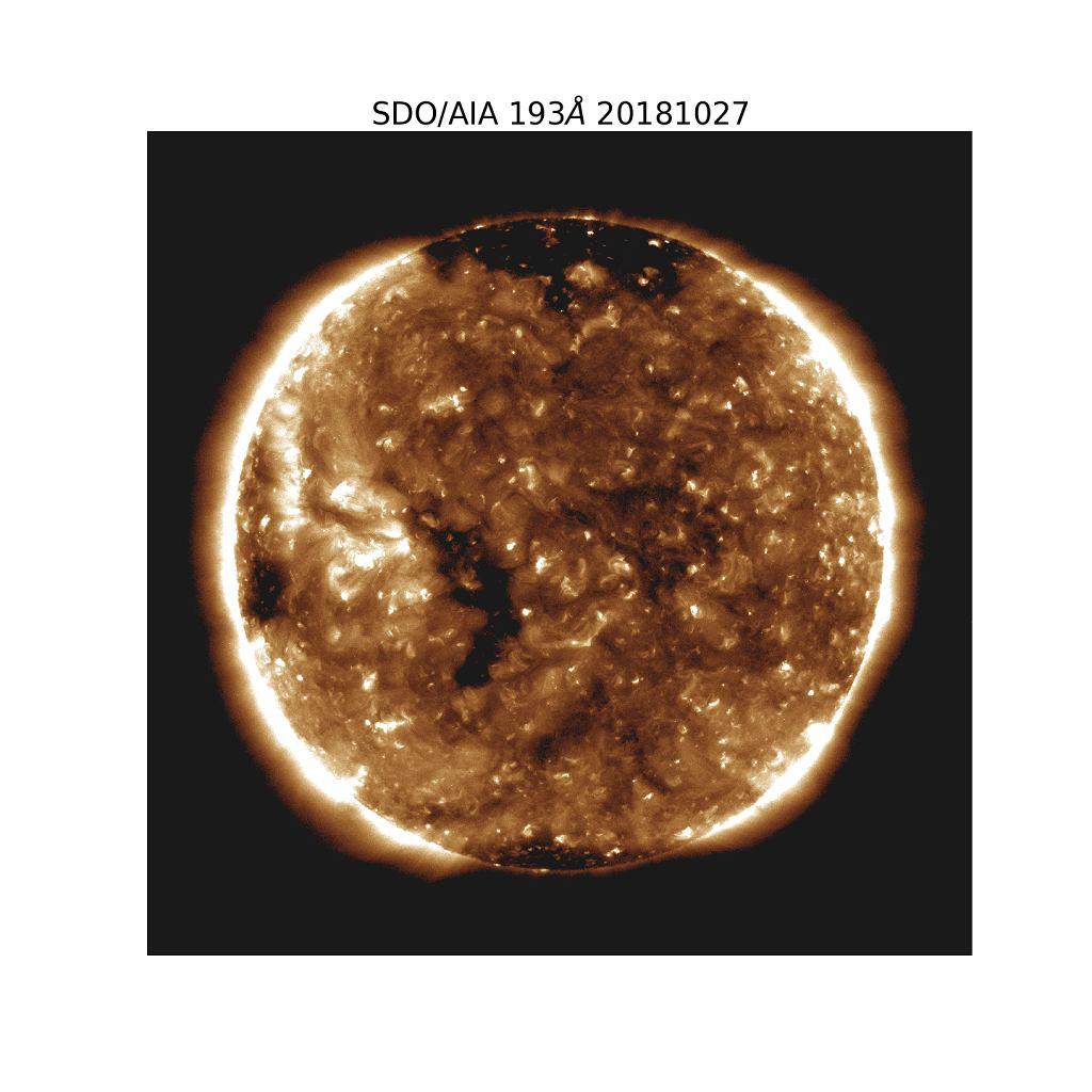 Parker Solar Probe zaobserwował wiatr słoneczny wypływający z małej dziury koronalnej - czarnej plamy po lewej stronie