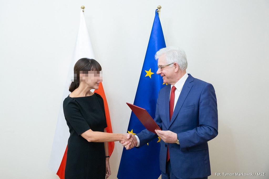 Była ambasadorka RP w Pradze Barbara Ć. i były minister spraw zagranicznych Jacek Czaputowicz