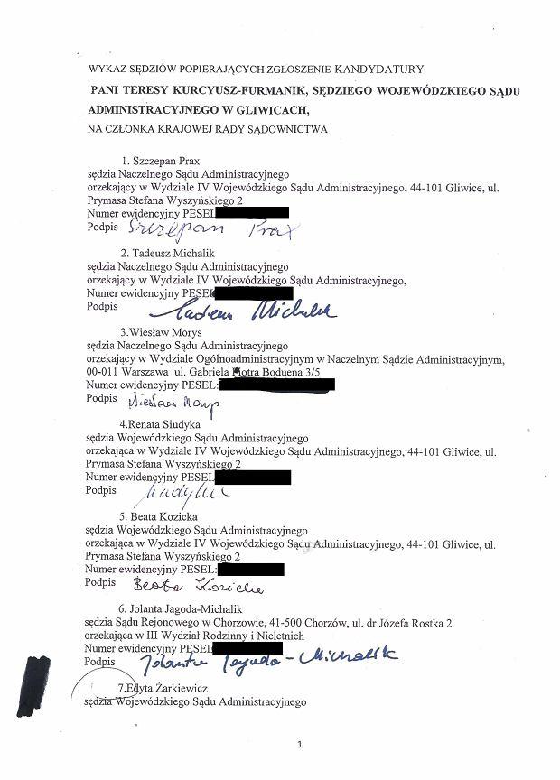 Zdjęcie numer 0 w galerii - Lista poparcia kandydatury Teresy Kurcyusz-Furmanik z WSA w Gliwicach na członka KRS
