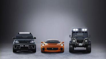 Jaguar C-X75, Range Rover Sport SVR i Land Rover Defender Big Foot w Spectre