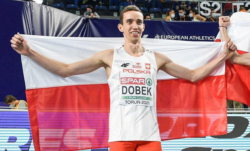 Patryk Dobek po zwycięskim finale biegu na 800 m na halowych mistrzostwach Europy w Toruniu