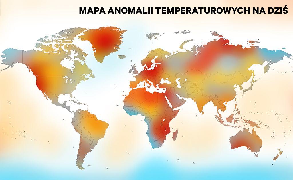 Anomalie temperaturowe na świecie. Im ciemniejszym kolorem zaznaczone jest miejsce, tym bardziej aktualna temperatura odbiega od średniej temperatury w danym miejscu