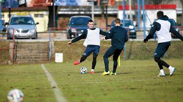 Adam Frączczak na treningu Pogoni