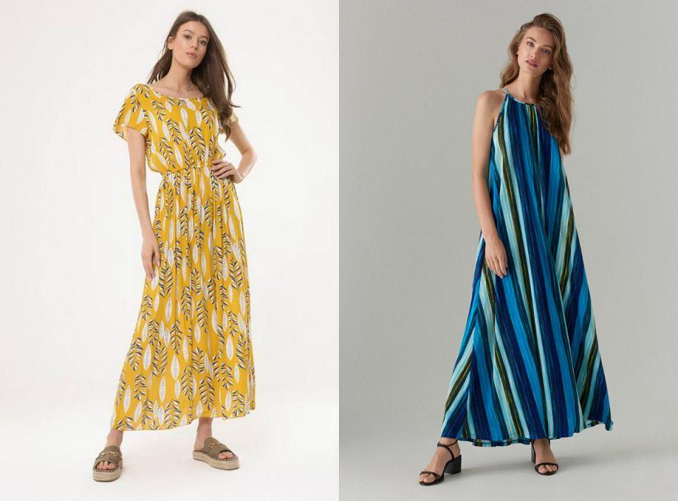 Długie sukienki w modny, wiosenny wzór sprawdza się idealnie do pracy