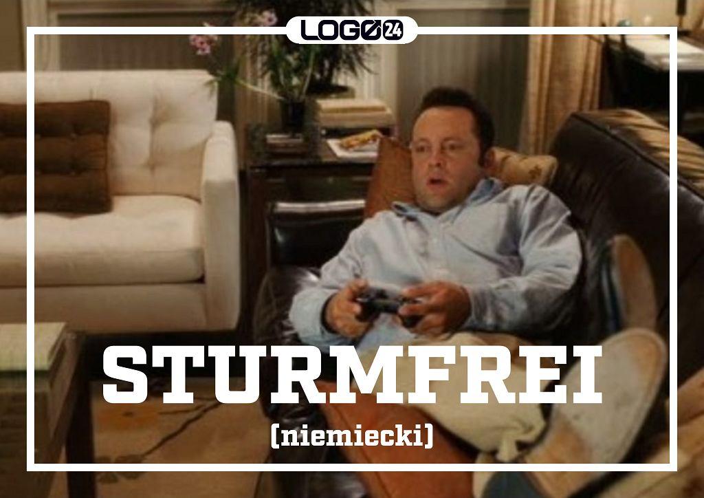 Sturmfrei (niemiecki) - dosłownie 'bezburzowy', niedosłownie - jest to ten moment, kiedy zostajesz sam w domu bez nadzoru i możesz robić wszystko, co ci się podoba.
