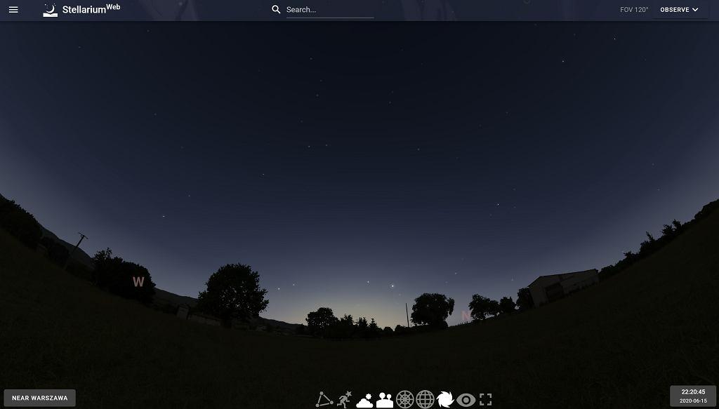 Prognozowany wygląd nieba z okolic Warszawy 15 czerwca 2020 o godz. 22:20