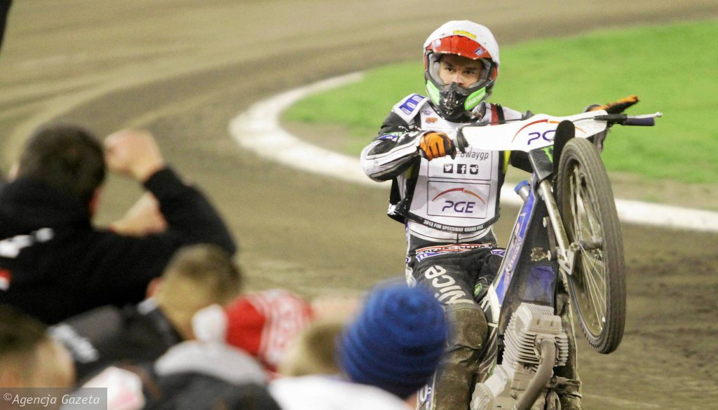 Adrian Miedziński w Grand Prix 2013 na Motoarenie.