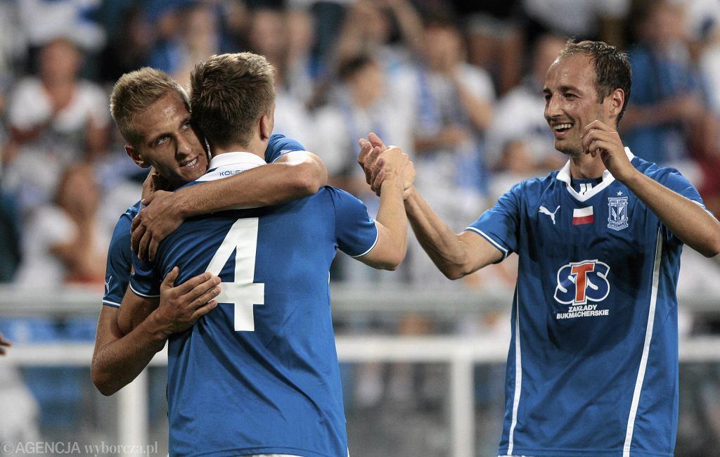 Radość lechitów po golu w meczu z Honką Espoo