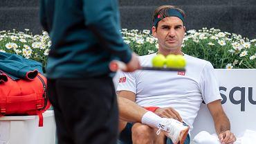 Federer na treningu przed turniejem w Genewie, 14 maja 2021