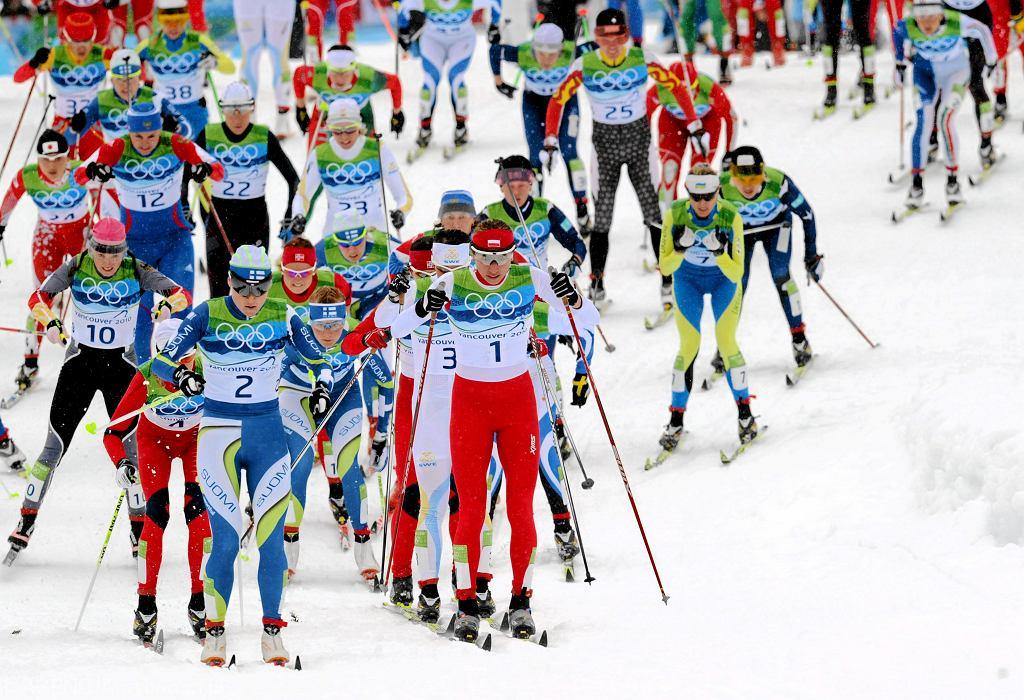 27.02.2010 r. Vancouver. Justyna Kowalczyk pierwsza w biegu na 30 km.