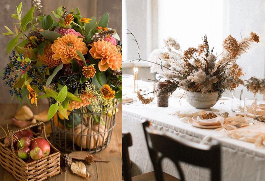 Jesienne kompozycje z suszonych kwiatów