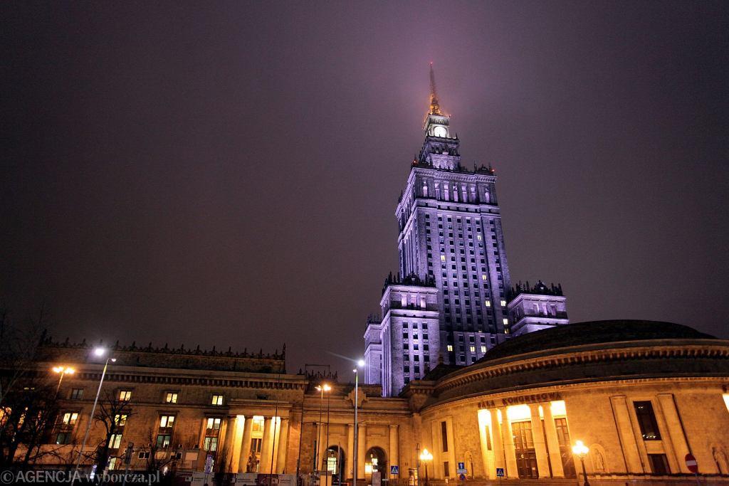 PKiN nocą - to tu mieści się m.in. teatr 6.piętro Michała Żebrowskiego
