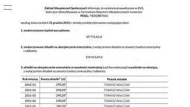 Przykładowy list od ZUS z wyliczeniem emerytury