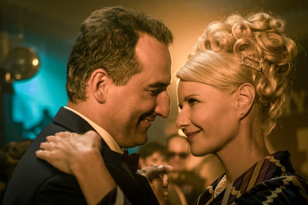 Małgorzata Kożuchowska i Michał Koterski na planie filmu 'Gierek'