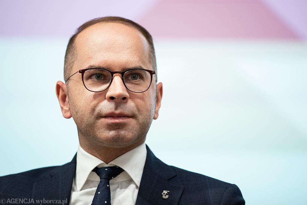 Poseł Michał Szczerba - jako prezes Towarzystwa Przyjaciół Woli. Warszawa, ul. Srebrna 12, 4 grudnia 2019