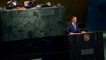 Prezydent Andrzej Duda przemawia podczas szczytu ONZ 27 września 2015 r.