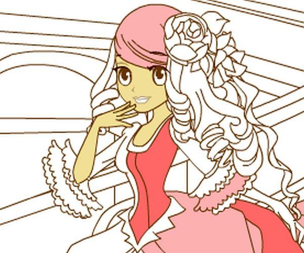 Kolorowanka: szczęśliwa księżniczka