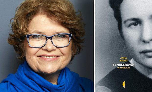 Anna Bikont i okładka książki 'Sendlerowa'