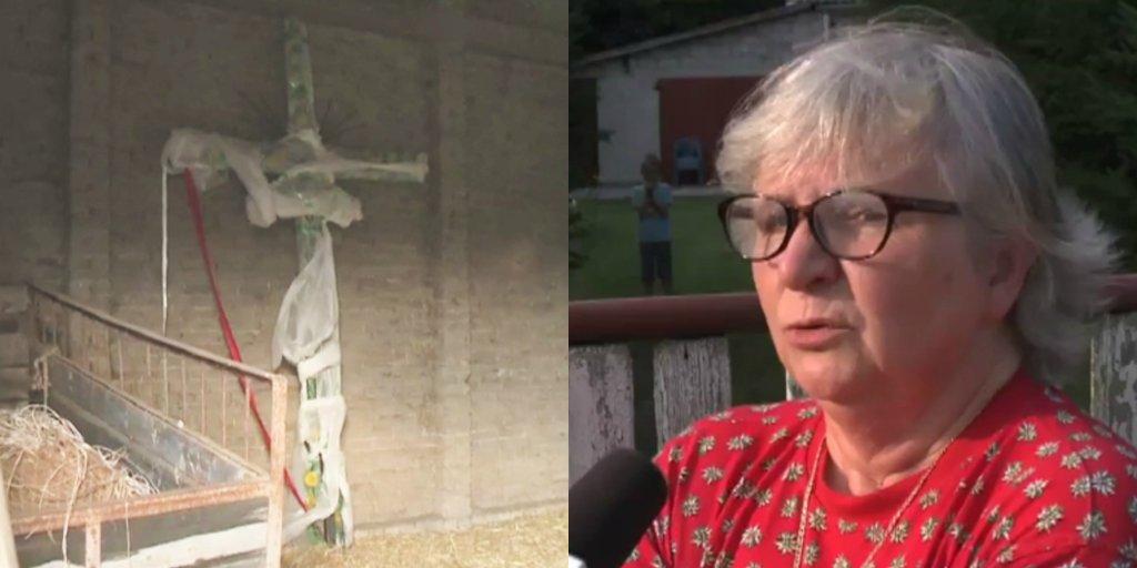 Halina Krzesicka ścięła krzyż stojący przed jej domem