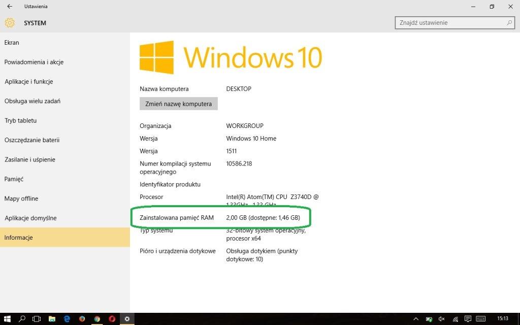 Zrzut ekranu z systemu Windows 10