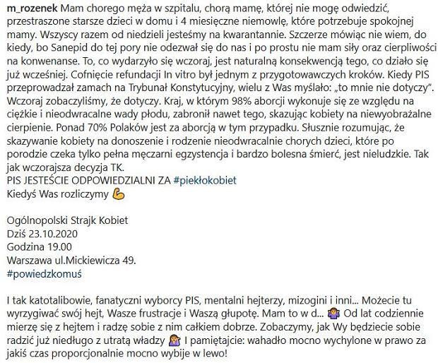 Wpis Małgorzaty Rozenek o wyroku TK