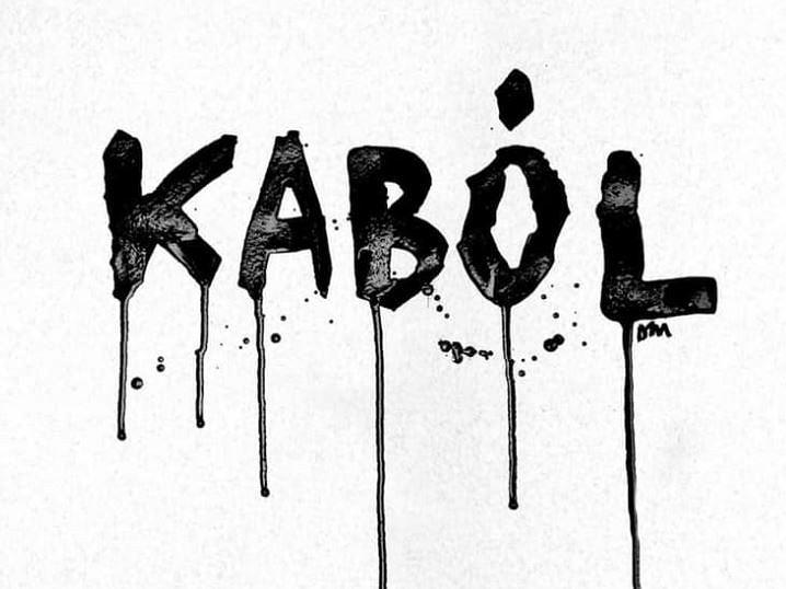 Plakat manifestacji 'Kabul/Kaból' autorstwa Matyldy Damięckiej