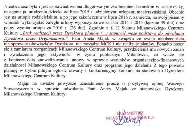 Fragment pisma burmistrz Milanówka do Stowarzyszenia Dyrektorów Samorządowych Instytucji Kultury