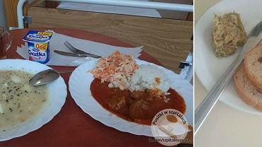Posiłek w szpitalu św. Zofii (po lewej) oraz danie w Szpitalu Wojewódzkim nr 2 im. Św. Jadwigi Królowej w Rzeszowie (po prawej)