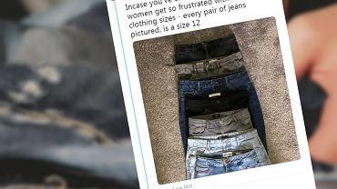 Nastolatka porównuje spodnie w tym samym rozmiarze.