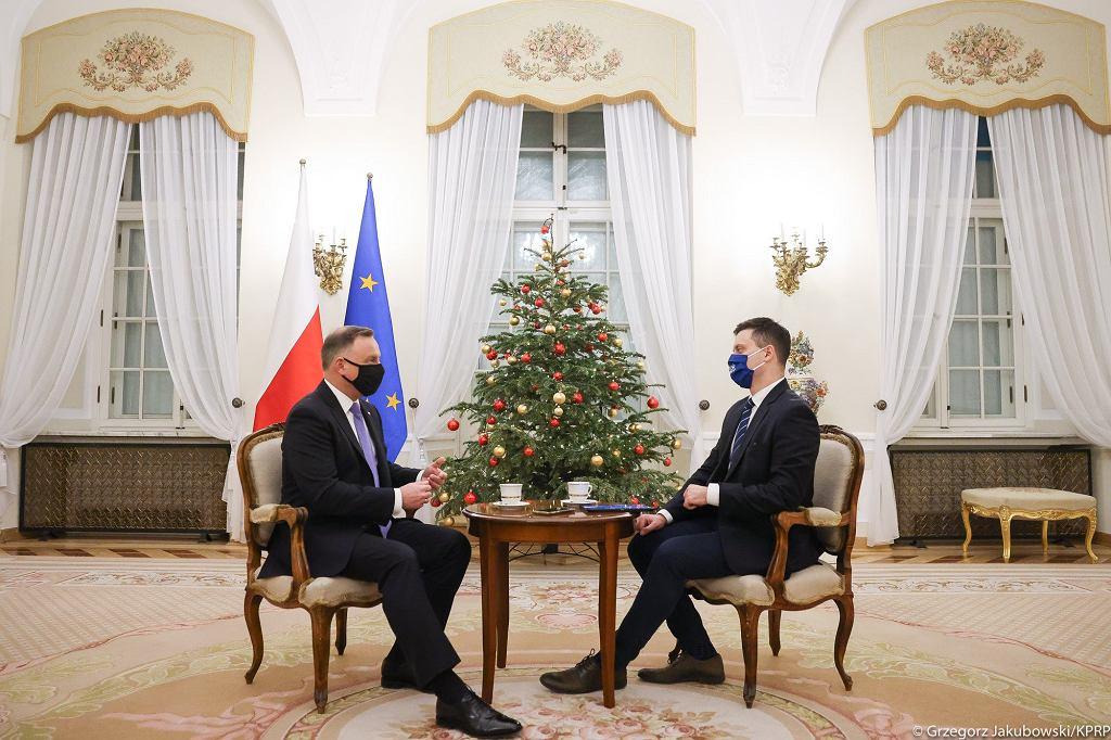 Prezydent Andrzej Duda podczas wywiadu dotyczącego szczepień
