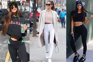 Krótkie, sportowe bluzy i topy + spodnie z wysokim stanem - połączenie idealne