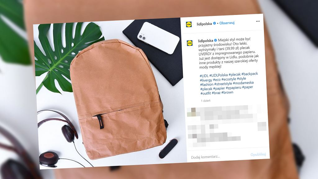 Lidl sprzedaje plecaki z papieru - z wegańskiej skóry. Są bardzo tanie