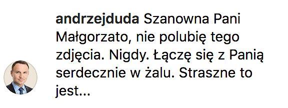 Andrzej Duda odpowiada Małgorzacie Kożuchowskiej