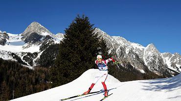 Monika Hojnisz-Staręga w biegu ze startu wspólnego na MŚ w Anterselvie
