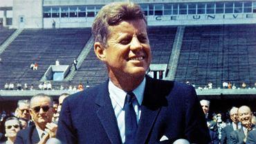 Prezydent USA John F. Kennedy przemawia na Rice University