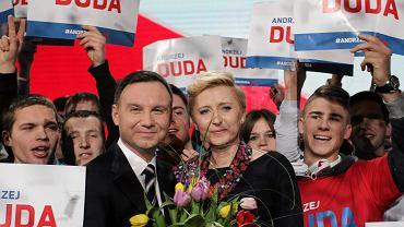 Andrzej Duda z żoną podczas swojej sobotniej konwencji w Warszawie
