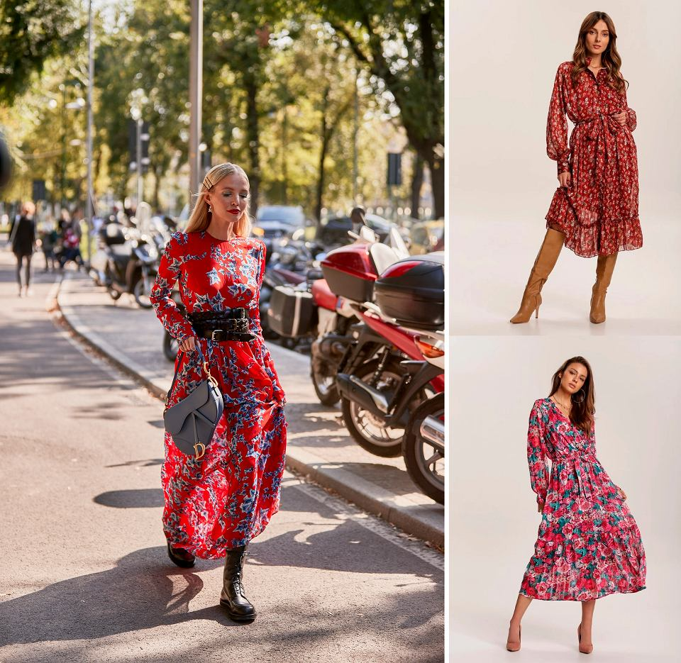 Stylizacje z sukienkami w kwiaty
