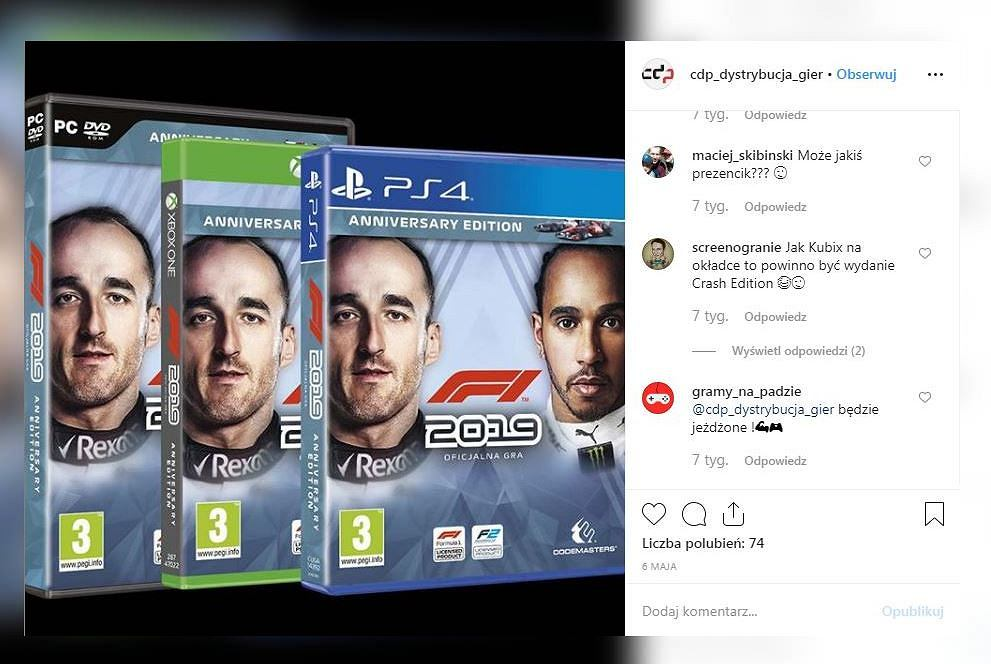 Robert Kubica twarzą gry 'F1 2019'