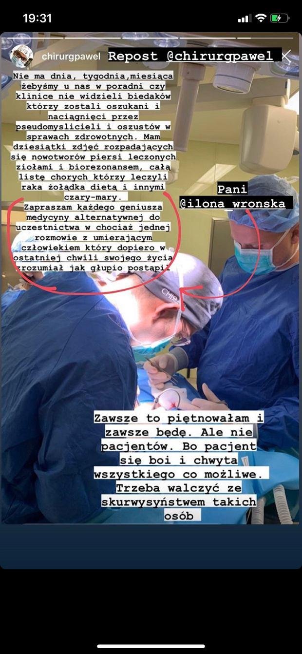 Chirurg Paweł odpowiada na mądrości Ilony Wrońskiej