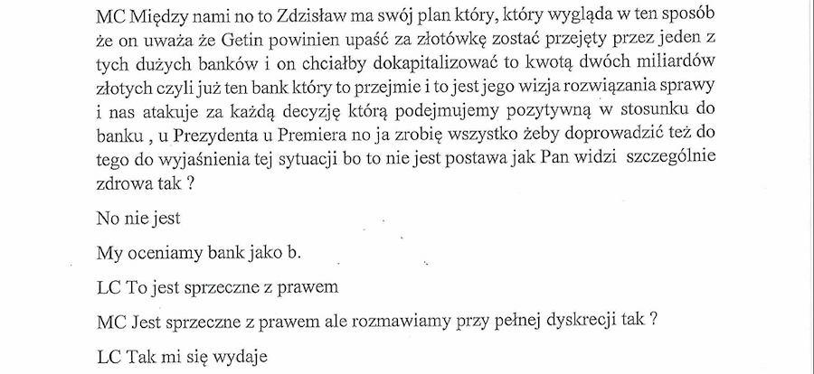 Rozmowa Czarneckiego z Chrzanowskim pokazuje, jaką politykę wobec sektora bankowego chcą prowadzić obecne władze